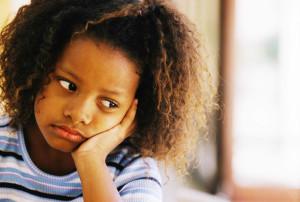 Sad black girl young student
