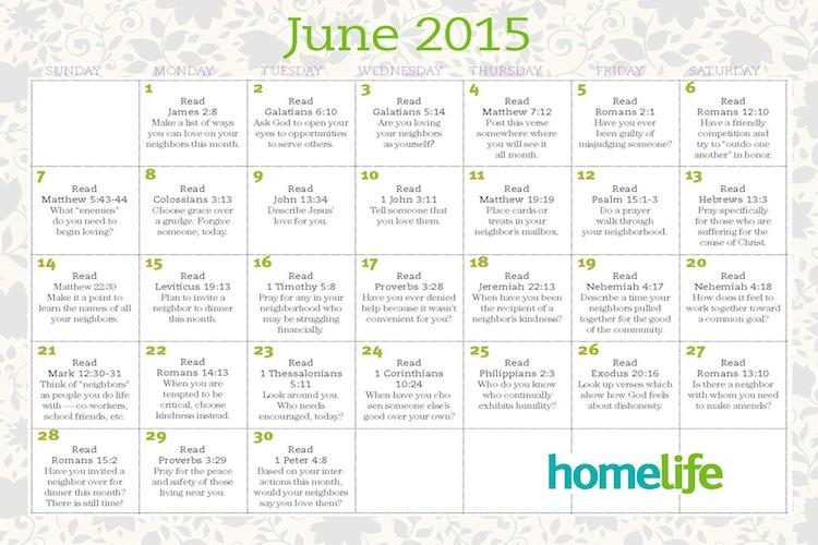 Family Calendar 2015 : June family time calendar and scripture art lifeway