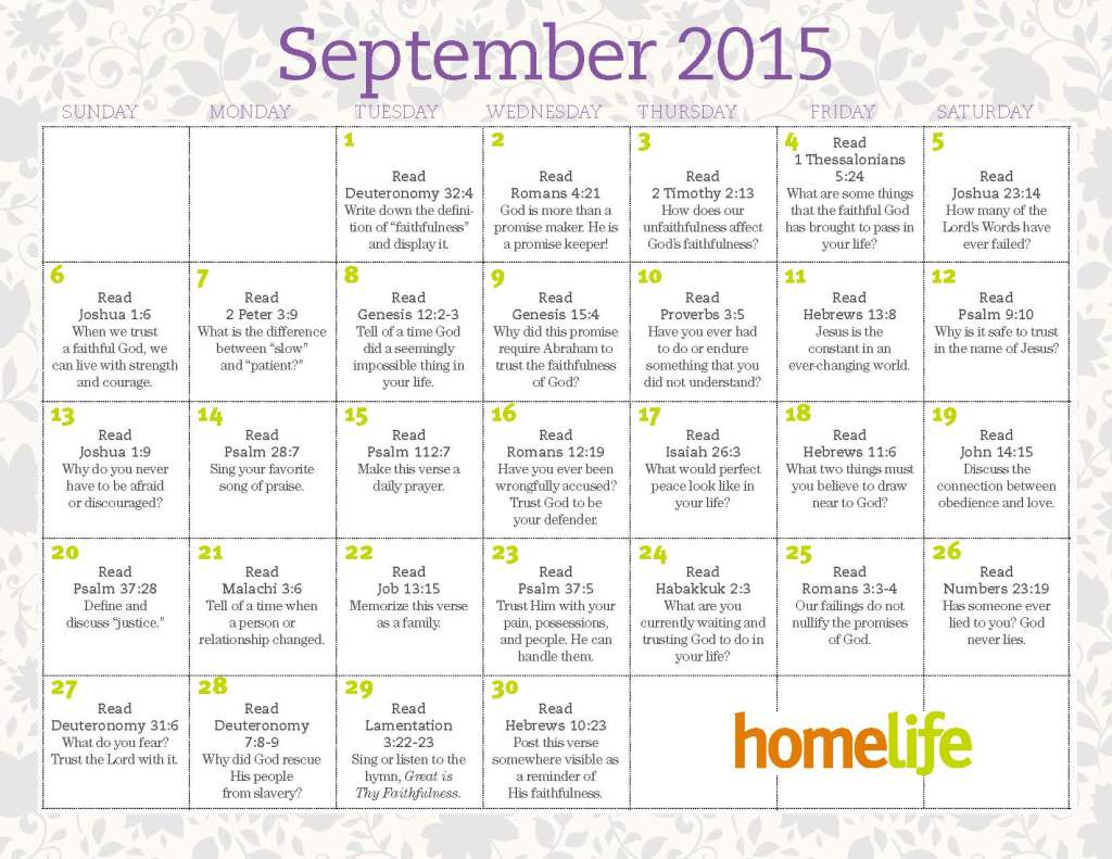 September Family Time Calendar and Scripture Art