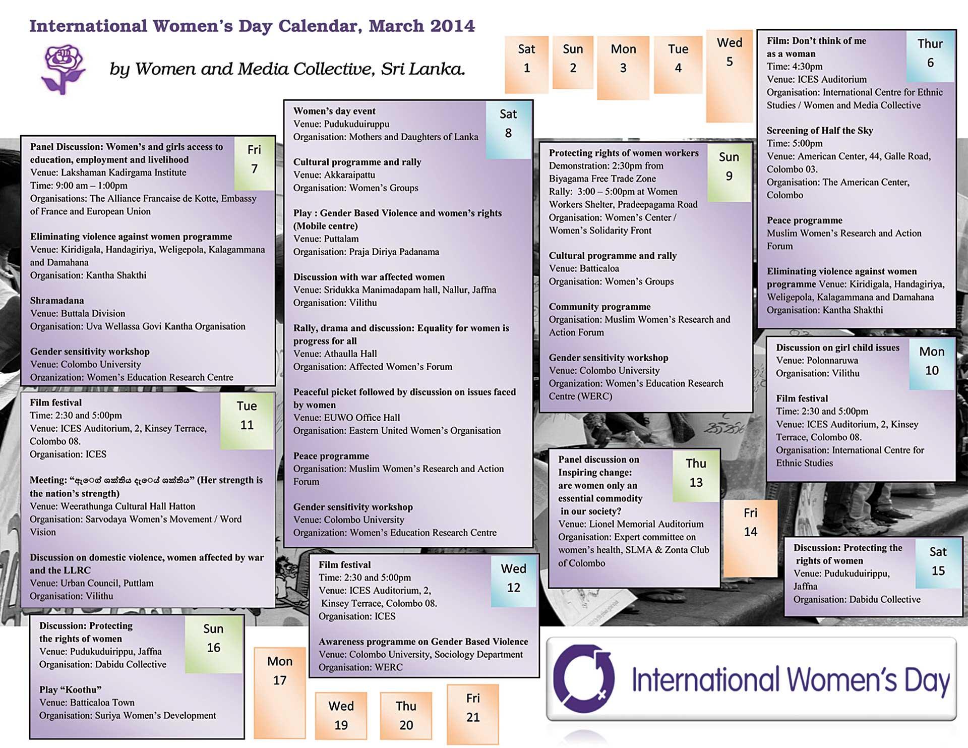 International Women S Day Calendar 2014