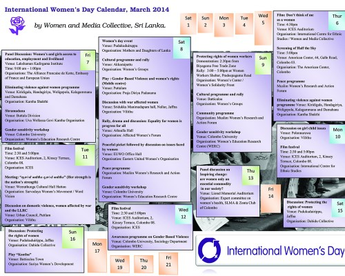WMC, IWD Calendar 2014