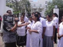 Women's groups outside the high court