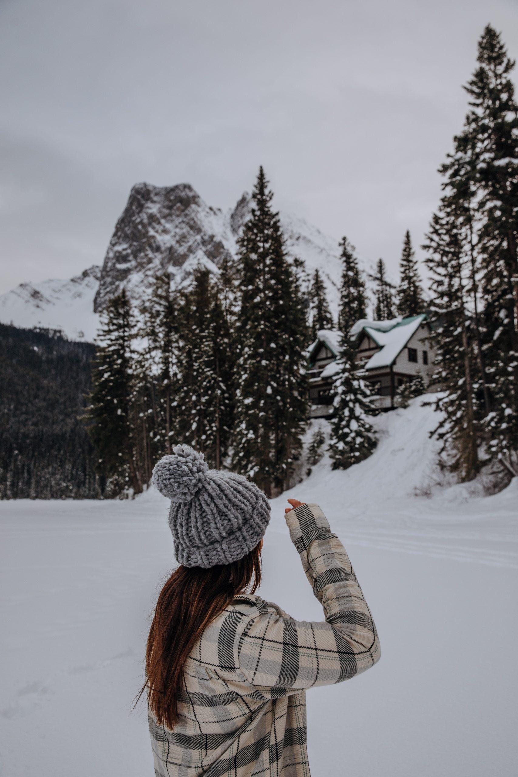 Girl walking on Emerald Lake in the winter