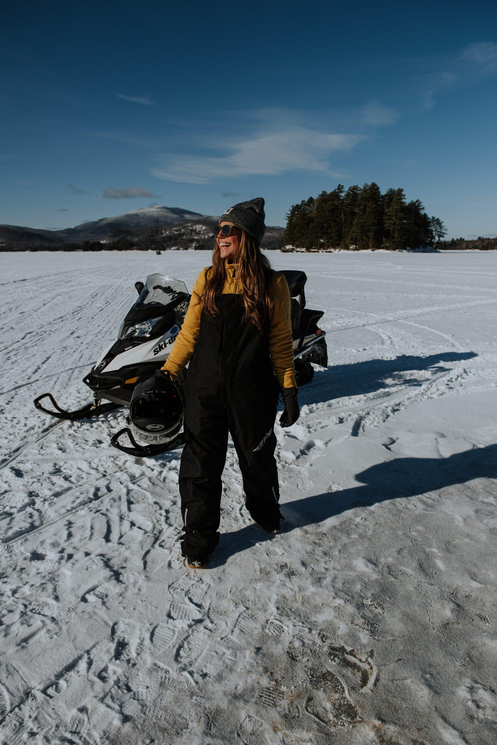 Snowmobiling on Moosehead Lake in Maine