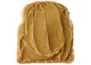 peanut butter on brown bread