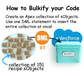How to Bulkify your code by creating an Apex collection of sObjects and using a single DML statement to insert the entire collection at once!