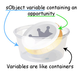 Variables are like containers. Image showing a container containing an opportunity. The container is the sObject.