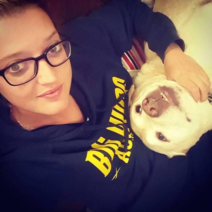 Sarah Taylor with her dog