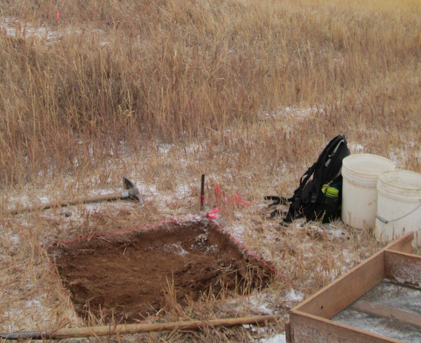 Image of test excavation unit outside