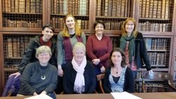 Members of the WIGS committee and local organiser, Henrike Lähnemann (University of Oxford), at the Old Library, St Edmund Hall.