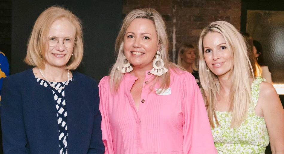 Chief Health Officer Dr Jeannette Young with Women in Media Queensland committee member Lou Davis and Neek Skin Organics director Angelique Ahearn.