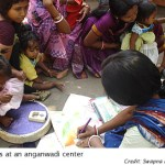 Mothers at an anganwadi center
