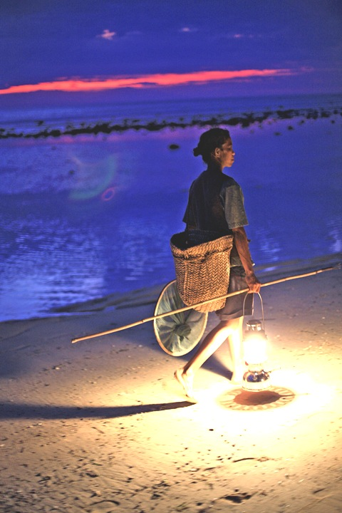 Woman Collecting Fish at Sunset Timor-Leste, Pacific Islands