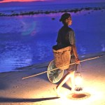 Woman collects fish, Timor-Leste