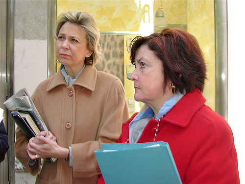 Caterina Dolcher and Bruna Zorzini of the STOP FGM campaign in Trieste, Italy, 2003