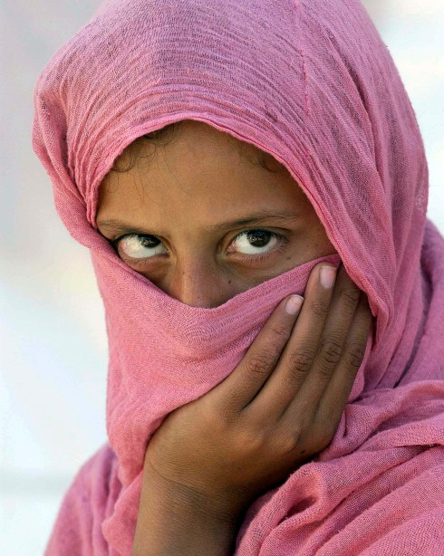 Veiled woman showing only her eyes