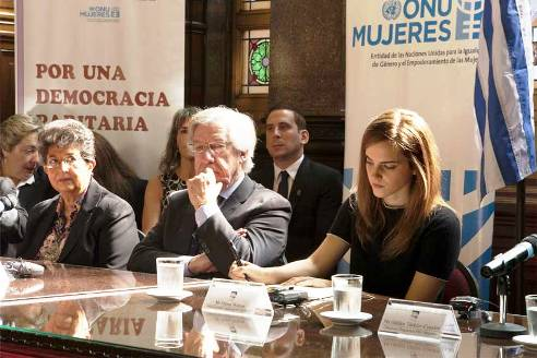 UN Ambassador British actor Emma Watson talks women at table in Uruguay