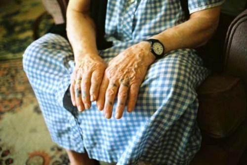 """Grandma shows her hands with her tattoos, from the film """"Grandma's Tattoos"""""""