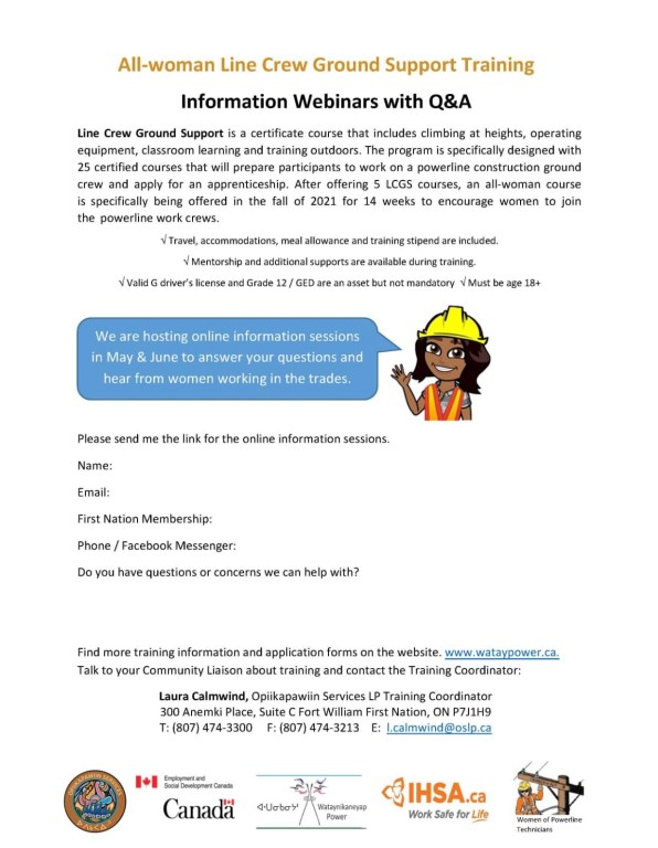 OSLP is hosting online information sessions in May and June to answer your questions and hear from women working in the trades.