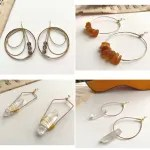 Guitar string earrings with gemstones and crystals