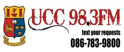 """UCC 98.3 FM"" header graphic. Includes the words ""text your request 086-783-9800"""