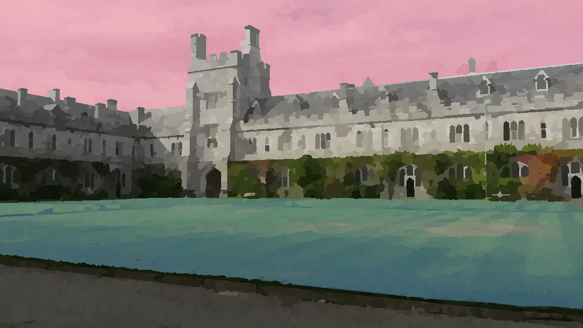 Stylised image of University College Cork quad, colourised with pink and blue.