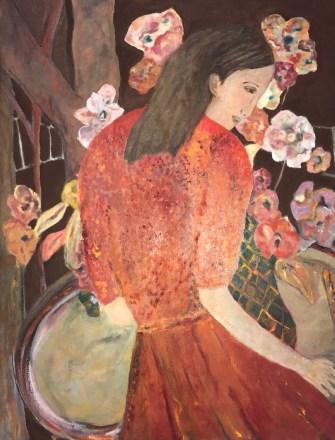 """""""Woman in Orange,"""" Oil on Linen, 24""""x28"""""""