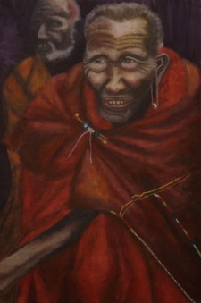 """Grand Maasai Warrior,"" Oil on Linen, 15""x22.5"""