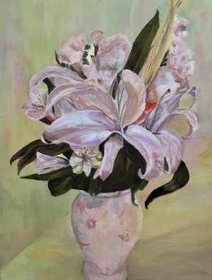 """Lily in Vase,"" Oil on Linen, 20""x26'"