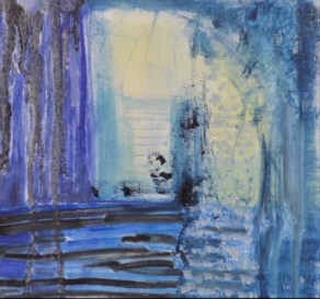 """Donna Scarpa, """"Into the Blue,"""" Oil on Board, 8""""x8"""" - SOLD"""