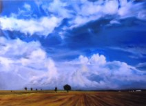 """Sherri Paul, """"Afternoon Clouds,"""" Oil on Linen, 30""""x22"""" - SOLD"""