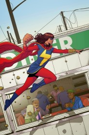 Kamala Khan (AKA Ms. Marvel) is a Pakistani-American teenager who stars in Ms. Marvel (2014) and Ms. Marvel (2016). She's also been in several other series, due to her popularity!