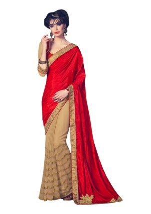 0033120_red-and-beige-fancy-fabrics-net-and-cn-paper-silk-sari