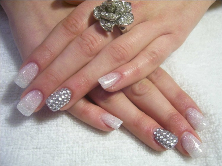 Glittering French Tip Nail Designs