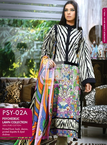 Gul Ahmed Psychedelic Lawn 2014, gul ahmed lawn 2014 catalogue