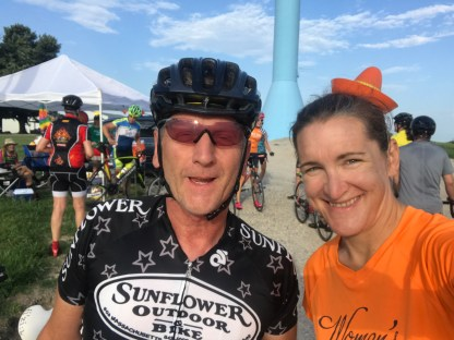 Cindy with cyclist, sponsor, and friend, Bill Anderson,