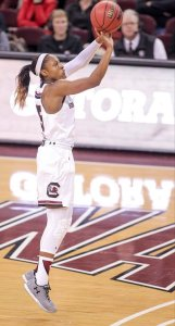 All-American senior guard Tiffany Mitchell is averaging 15 points per game over South Carolina's first four contests this year. Photo courtesy of South Carolina Athletics.