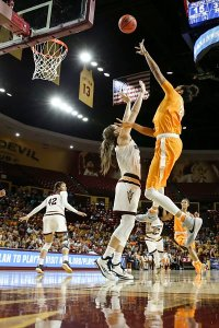 Mercedes Russell puts up a shot during the NCAA Tournament second round game between the Arizona State Sun Devils and the Tennessee Lady Volunteers. Photo By Donald Page/Tennessee Athletics