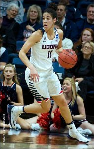 Connecticut's Kia Nurse drives to the basket. Photo by: Robert L. Franklin