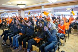 Oklahoma State celebrates their NCAA Tournament selection. Photo by Bruce Waterfield/OSU Athletics.