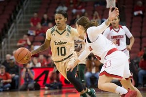 Courtney Williams drives the ball up court. Photo courtesy of South Florida Athletics.