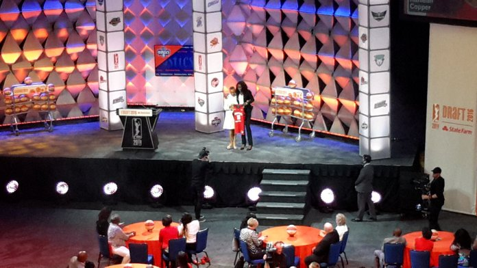 Kahleah Copper is selected by the Washington Mystics with the seventh pick. Photo by Rebecca Rider.