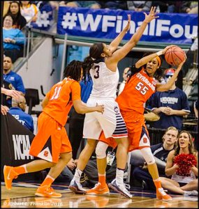 Syracuse's Bria Day tries to make a pass. Photo by Robert L. Franklin.