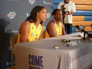 Candace Parker and Chelsea Gray answer media questions. Photo by Sue Favor.