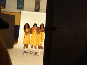 Nneka Ogwumike, Candace Parker and Jantel Lavender have fun at media day. Photo by Sue Favor.
