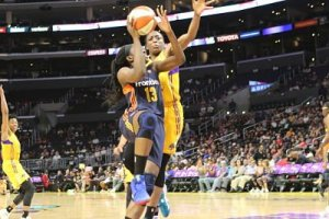 Chiney Ogwumike, left, and sister Nneka Ogwumike battle each other in the paint Sunday, Nneka scored 27  points for the Sparks and Chiney led the Sun with 16. Photo by Benita West, TGSportsTV1.