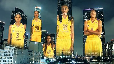 Five of the Los Angeles Sparks have been playing together since 2012. Candace Parker, left, was drafted in 2008; Kristi Toliver was acquired in 2010; Jantel Lavender was drafted in 2011; Nneka Ogwumike was drafted in 2012; and Alana Beard was acquired in 2012. Photo courtesy of Los Angeles Sparks.