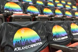 Forty-nine #OrlandoUnited shirts, each signed by the entire Storm team, were placed on seats to remember those lost in the Pulse tragedy. The shirts were sold to raise money for the One Orlando Fund. Photo by Neil Enns/Storm Photos.