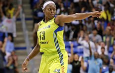 Karima Christmas celebrates after sinking a three-point basket late in the second half against the Minnesota Lynx. AP Photo/Tony Gutierrez