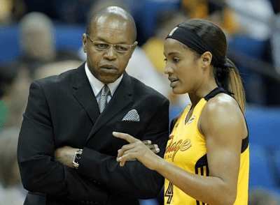 Dallas Wings coach Fred Williams talks with point guard Skylar Diggins. Photo by Stacks Magazine.